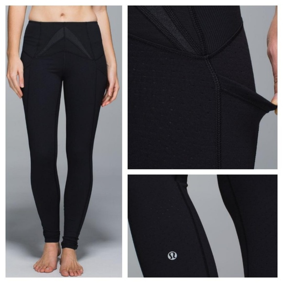 09732851bfd6ff lululemon athletica Pants - Lululemon Exquisite Pant Shine Dot Black Size 2